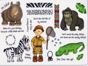 Animal Safari Unmounted Rubber Stamps Design by Sam Poole