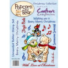 Beary Merry Christmas - Unmounted Stamp Set - Popcorn The Bear Christmas Collection - PST-XMS-BER