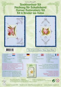 Corner Embroidery Kit Blue