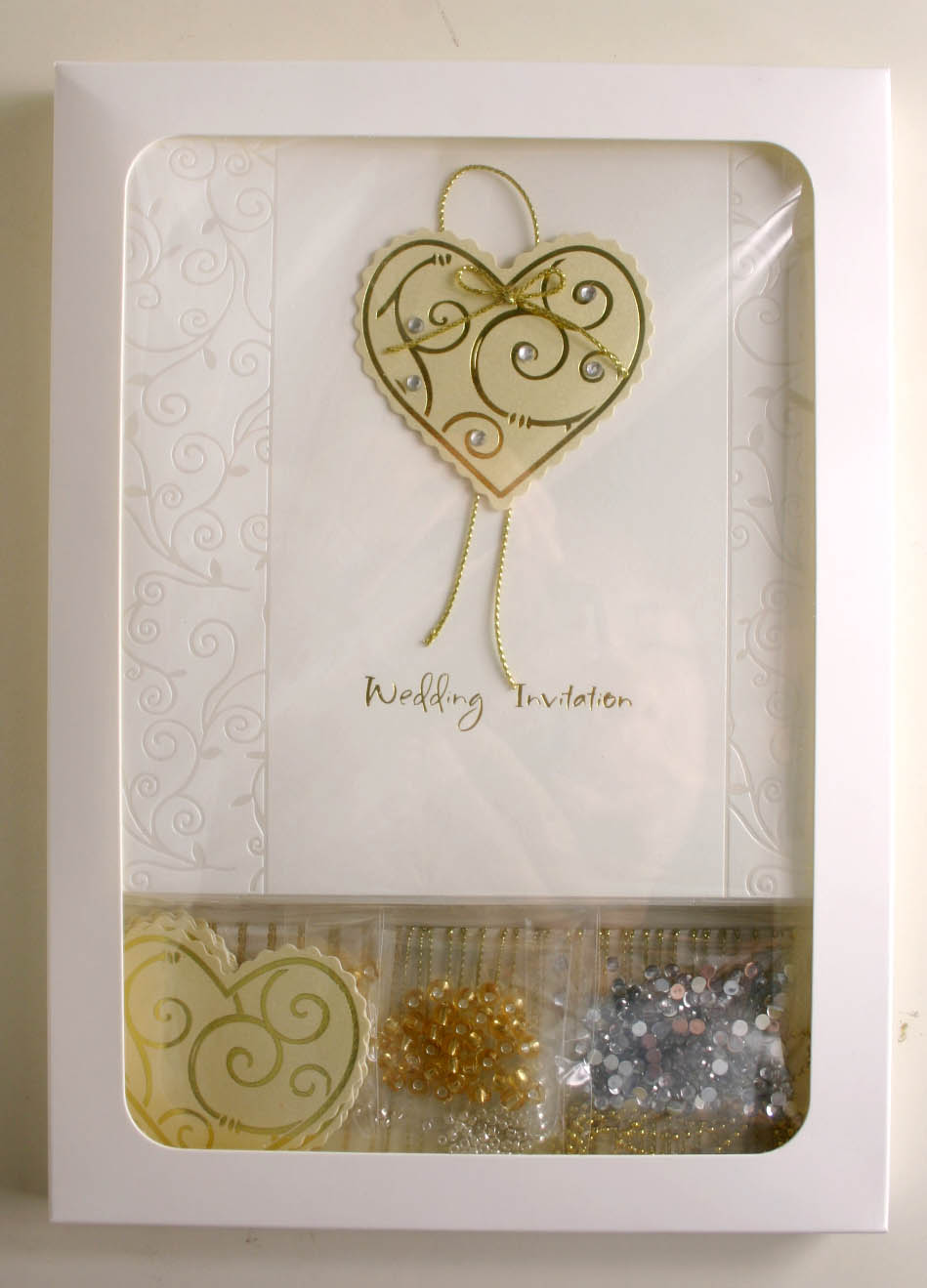 Gold Heart Wedding Invitation Kit Make It Yourself CKINV002