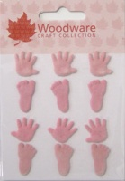 Baby Hands And Feet Brads Pink Woodware JL131
