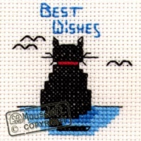 Best Wishes Cat Stitchlets Special Occasions Card and Envelope Kit 014-143stl