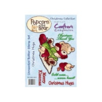 Christmas Hugs - Unmounted Stamp Set - Popcorn The Bear Christmas Collection - PST-XMS-HUG