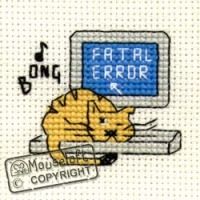 Biscuit The Cat Fatal Error Cross Stitch Kit