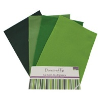 Green Felt A4 Sheets Multipack Dovecraft DCFL020