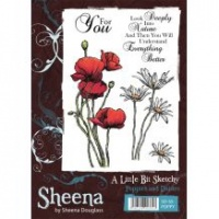 Poppies and Daisies A Little Bit Sketchy Stamp by Sheena Douglass SD-SS-POPPY