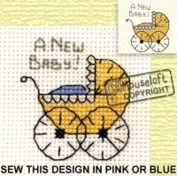 Pram New Baby Special Occasions Stitchlets Card and Envelope Kit 014-442stl