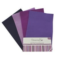 Purple Felt Sheets A4 Multipack Dovecraft DCFL021