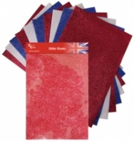 Red White and Blue Glitter Sheets Colour Connection AC0123U