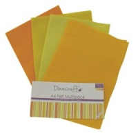 Yellow and Orange Felt Sheets A4 Multipack Dovecraft DCFL022