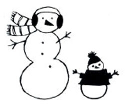 Two Snowmen - Wood Backed Stamp - Savvy Stamps