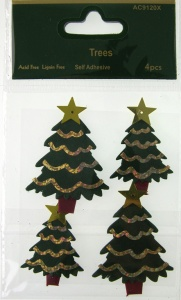 3D Christmas Trees 4 pcs Craftime AC9120X
