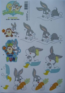 Baby Bugs Bunny Baby Looney Tunes Collection Decoupage Sheet BLT001