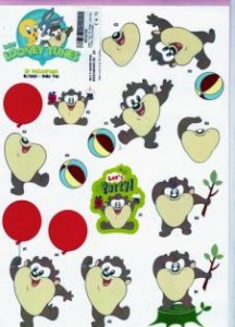 Baby Taz Baby Looney Tunes Collection 3D Decoupage Sheet BLT002