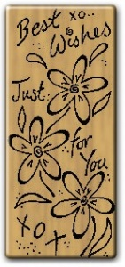 Best Wishes Flowers - Wooden Backed Stamp - Funstamps F-N51