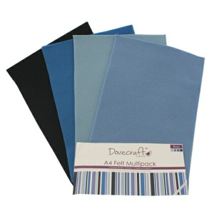 Blue Felt Sheets A4 Multipack Dovecraft DCFL019