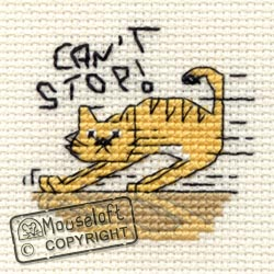 ~ NEW MOUSELOFT STITCHLETS CROSS STITCH KIT ~ BISCUIT THE CAT ~ CAN/'T STOP