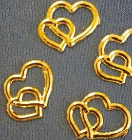 Double Heart Embellishments Gold Pack of 10