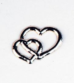 Double Heart Embellishments Silver Pack of 10