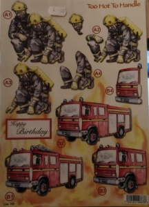 Fire Engine and People Die Cut Decoupage Line 722
