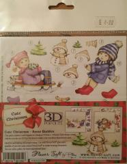 Flower Soft Cute Christmas Snow Buddies Decoupage Toppers
