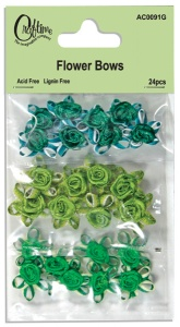 Green Flower Bows 24 pcs Craftime Colour Connection AC0091G