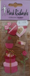 Hat Boxes & Hearts Embellishment Stickers Mark Richards 2344