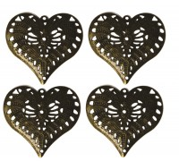Metal Heart Pack Of 4 AC0146E