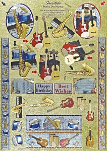 Musical Instruments - 3D Freestyle Die Cut Decoupage Sheet - Dufex