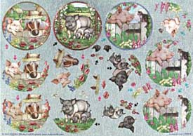 Pigs - 3D Die Cut Decoupage Sheet - Dufex