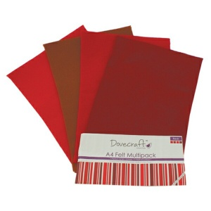 Red Felt Sheets A4 Multipack Dovecraft DCFL024
