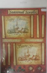 Seasonal Scrolls Church Decoupage Sheet
