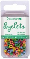 100 Brights Eyelets 1/8 Round (3mm) Dovecraft