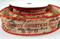 38mm Merry Christmas Scroll Burlap Ribbon