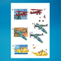 Aeroplanes & Helicopter Diecut Decoupage Sheet