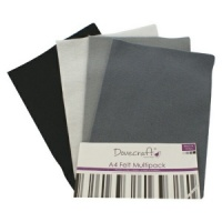 Black and Grey Felt A4 Sheets Multipack Dovecraft DCFL023