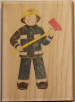 Fireman Wood Backed Stamp Jolly Nation