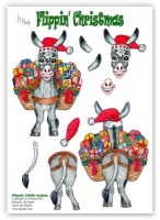 Flippin Little Donkey die cut decoupage (with free insert) - Flippin' Christmas