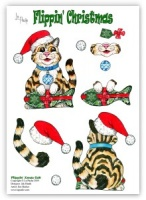 Flippin Xmas Cat Die Cut Decoupage (with free insert) - Flippin' Christmas