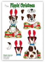 Flippin Xmas Dog die cut decoupage (with free insert) - Flippin' Christmas