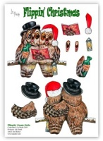 Flippin Xmas Owls die-cut decoupage (with free insert) Flippin' Christmas