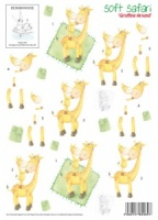 Giraffing Around - Soft Safari - 3D Decoupage Sheet - Design House