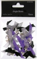 Jingle Bows Black / Silver / Purple 15 pcs AC9078X