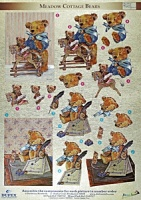 Meadow Cottage Bears 4 - 3D Die Cut Decoupage Sheet - Dufex