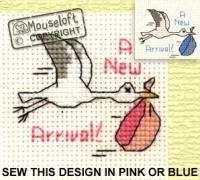 New Arrival / Stork Stitchlets Cross Stitch Card Kit 014-443stl