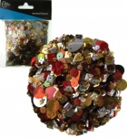 Red, Gold and Silver Assorted Sequin Mix 90g CR12422A