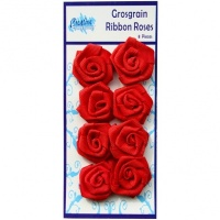 Red Grosgrain Ribbon Roses GRR01