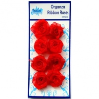 Bright Red Organza Ribbon Roses RR-021