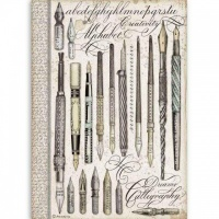 Vintage Pens Rice Paper A4 Stamperia DFSA4526