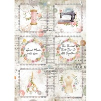 Romantic Threads Mini Cards Rice Paper Stamperia DFSA4568